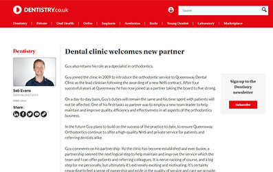 Dental clinic welcomes new partner